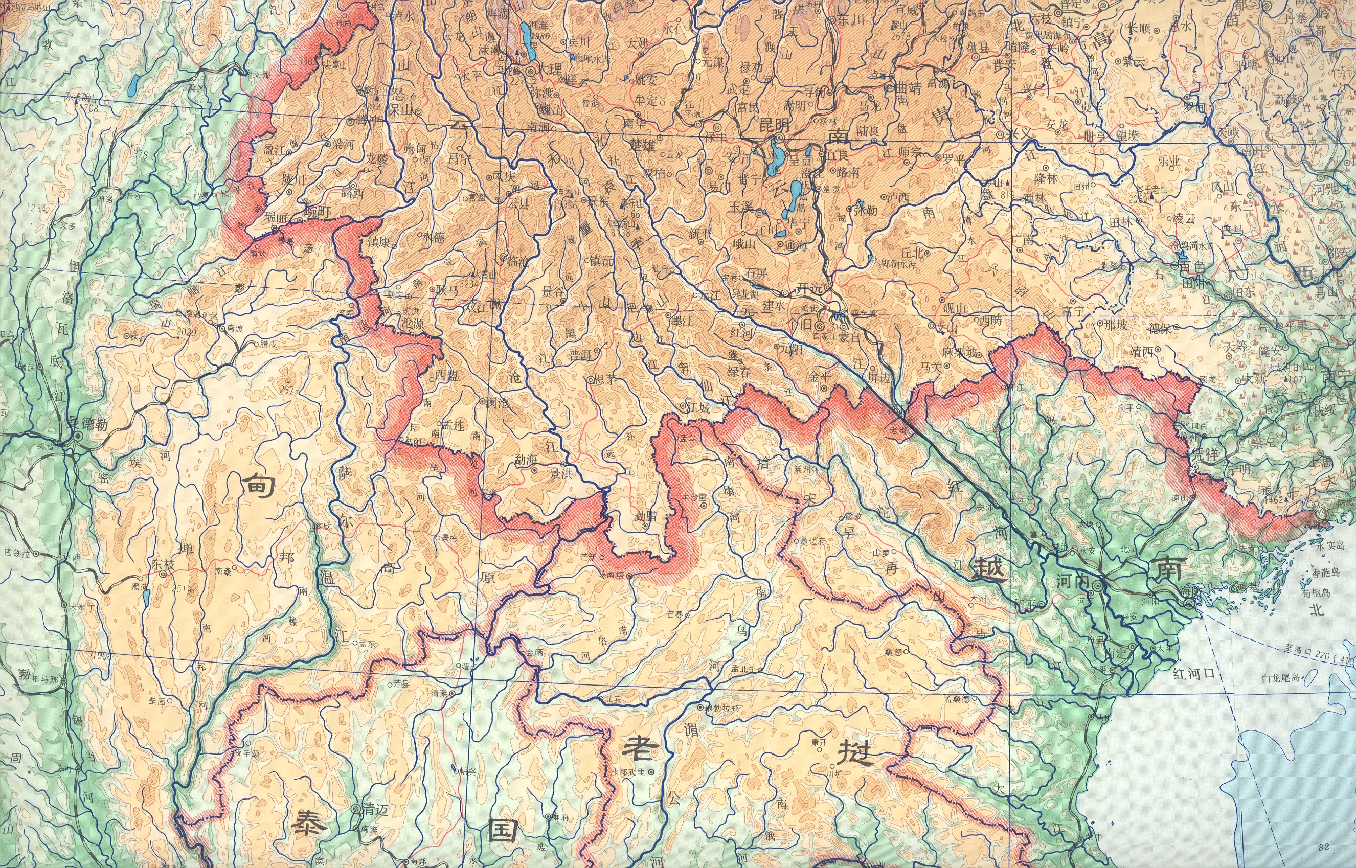 detail from chinese language topographic map of china and northern se asia including the greater northern mon khmer speaking region